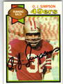 OJ SIMPSON SAN FRANCISCO 49ers AUTOGRAPHED VINTAGE FOOTBALL CARD #20813G