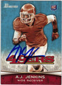 AJ JENKINS SAN FRANCISCO 49ers AUTOGRAPHED ROOKIE FOOTBALL CARD #20913i