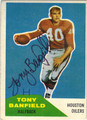 TONY BANFIELD HOUSTON OILERS AUTOGRAPHED VINTAGE FOOTBALL CARD #21313A