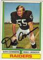 DAN CONNERS OAKLAND RAIDERS AUTOGRAPHED VINTAGE FOOTBALL CARD #21413J