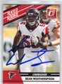 SEAN WEATHERSPOON ATLANTA FALCONS AUTOGRAPHED ROOKIE FOOTBALL CARD #21913B