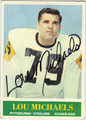 LOU MICHAELS AUTOGRAPHED VINTAGE FOOTBALL CARD #22412C