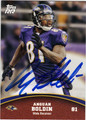 ANQUAN BOLDIN BALTIMORE RAVENS AUTOGRAPHED FOOTBALL CARD #31213E