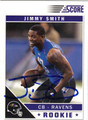 JIMMY SMITH BALTIMORE RAVENS AUTOGRAPHED ROOKIE FOOTBALL CARD #31313A