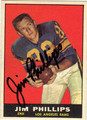 JIM PHILLIPS AUTOGRAPHED VINTAGE FOOTBALL CARD #31412M
