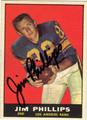 JIM PHILLIPS AUTOGRAPHED VINTAGE FOOTBALL CARD #31412M