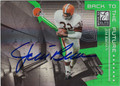 JIM BROWN & LaDAINIAN TOMLINSON DOUBLE AUTOGRAPHED & NUMBERED FOOTBALL CARD #31913D