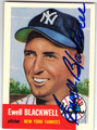 EWELL BLACKWELL NEW YORK YANKEES AUTOGRAPHED BASEBALL CARD #40213E