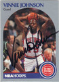 VINNIE JOHNSON DETROIT PISTONS AUTOGRAPHED BASKETBALL CARD #40213H