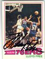 LLOYD FREE PHILADELPHIA 76ers AUTOGRAPHED VINTAGE BASKETBALL CARD #40813i