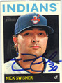 NICK SWISHER CLEVELAND INDIANS AUTOGRAPHED BASEBALL CARD #41113D