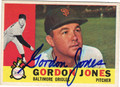 GORDON JONES BALTIMORE ORIOLES AUTOGRAPHED VINTAGE BASEBALL CARD #41213D