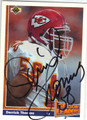 DERRICK THOMAS KANSAS CITY CHIEFS AUTOGRAPHED FOOTBALL CARD #41413O