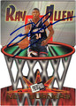 RAY ALLEN UNIVERSITY OF CONNECTICUT AUTOGRAPHED ROOKIE BASKETBALL CARD #41913B