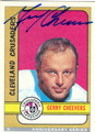 GERRY CHEEVERS CLEVELAND CRUSADERS AUTOGRAPHED HOCKEY CARD #41913D