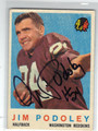 JIM PODOLEY WASHINGTON REDSKINS AUTOGRAPHED VINTAGE FOOTBALL CARD #42013C