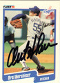 OREL HERSHISER LOS ANGELES DODGERS AUTOGRAPHED BASEBALL CARD #42413B