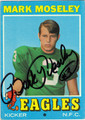MARK MOSELEY AUTOGRAPHED ROOKIE VINTAGE FOOTBALL CARD #42512E