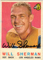 WILL SHERMAN LOS ANGELES RAMS AUTOGRAPHED VINTAGE FOOTBALL CARD #42513D
