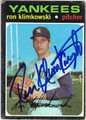 RON KLIMKOWSKI NEW YORK YANKEES AUTOGRAPHED VINTAGE BASEBALL CARD #42513J