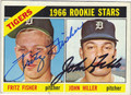 FRITZ FISHER & JOHN HILLER DOUBLE AUTOGRAPHED VINTAGE ROOKIE BASEBALL CARD #43013G