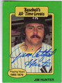 JIM CATFISH HUNTER NEW YORK YANKEES AUTOGRAPHED BASEBALL CARD #50213A