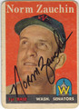NORM ZAUCHIN WASHINGTON SENATORS AUTOGRAPHED VINTAGE BASEBALL CARD #50213F