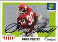 GREG PRUITT UNIVERSITY OF OKLAHOMA AUTOGRAPHED FOOTBALL CARD #60813B
