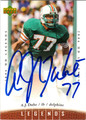 AJ DUHE AUTOGRAPHED FOOTBALL CARD #62612J