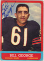 BILL GEORGE AUTOGRAPHED VINTAGE FOOTBALL CARD #71312G