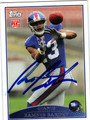 RAMSES BARDEN AUTOGRAPHED ROOKIE FOOTBALL CARD #71411R