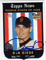 DAN GIESE AUTOGRAPHED ROOKIE BASEBALL CARD #72511G