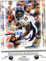 BRANDON MARSHALL AUTOGRAPHED FOOTBALL CARD #72611P