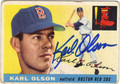 KARL OLSON BOSTON RED SOX AUTOGRAPHED VINTAGE BASEBALL CARD #72713A