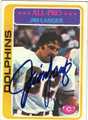 JIM LANGER AUTOGRAPHED VINTAGE FOOTBALL CARD #72811K