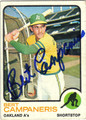 BERT CAMPANERIS OAKLAND ATHLETICS AUTOGRAPHED VINTAGE BASEBALL CARD #80211D