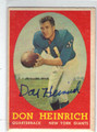 DON HEINRICH NEW YORK GIANTS AUTOGRAPHED VINTAGE FOOTBALL CARD #80213A