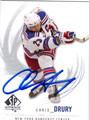 CHRIS DRURY NEW YORK RANGERS AUTOGRAPHED HOCKEY CARD #80413D
