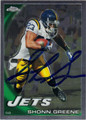 SHONN GREENE AUTOGRAPHED FOOTBALL CARD #81611E