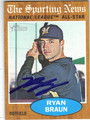 RYAN BRAUN MILWAUKEE BREWERS AUTOGRAPHED BASEBALL CARD #81913G