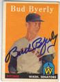 BUD BYERLY WASHINGTON SENATORS AUTOGRAPHED VINTAGE BASEBALL CARD #82213D