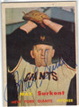 TOM SURKONT NEW YORK GIANTS AUTOGRAPHED VINTAGE BASEBALL CARD #82613D
