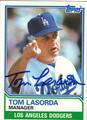 TOM LASORDA LOS ANGELES DODGERS AUTOGRAPHED VINTAGE BASEBALL CARD #82713F