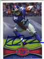 DAVID WILSON NEW YORK GIANTS AUTOGRAPHED ROOKIE FOOTBALL CARD #90413C