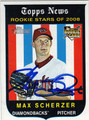MAX SCHERZER ARIZONA DIAMONDBACKS AUTOGRAPHED ROOKIE BASEBALL CARD #90413A