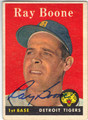 RAY BOONE DETROIT TIGERS AUTOGRAPHED VINTAGE BASEBALL CARD #90613L