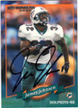 JAMES JOHNSON MIAMI DOLPHINS AUTOGRAPHED FOOTBALL CARD #90613K