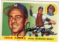JACK PARKS MILWAUKEE BRAVES AUTOGRAPHED VINTAGE BASEBALL CARD #91013J