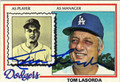 TOM LASORDA AUTOGRAPHED VINTAGE BASEBALL CARD #91412H