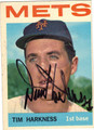 TIM HARKNESS NEW YORK METS AUTOGRAPHED VINTAGE BASEBALL CARD #91513A